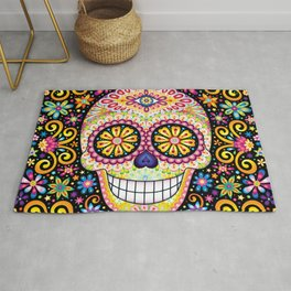 Colorful Sugar Skull - Psychedelic Day of the Dead Skull Art by Thaneeya McArdle Rug