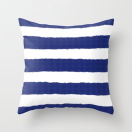 Nautical Navy Blue and White Stripe Print Throw Pillow