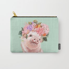 Baby Pig with Flowers Crown in Pastel Green Carry-All Pouch
