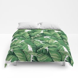 Tropical banana leaves V Comforters