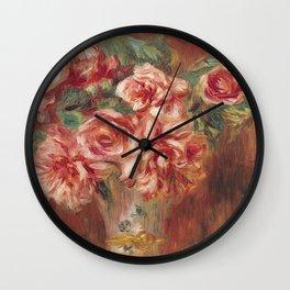 Auguste Renoir - Roses In A Vase 1890 Wall Clock