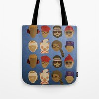 wes anderson Tote Bags featuring Wes Anderson Hats by godzillagirl