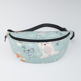 Christmas polar animals pattern 001 Fanny Pack