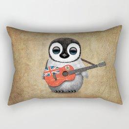 Baby Penguin Playing Bermudian Flag Acoustic Guitar Rectangular Pillow