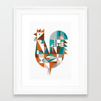 mid century Framed Art Prints featuring mid-century rooster by dennisthebadger
