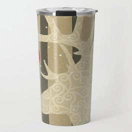 Golden Glittery Deer Holiday Design Travel Mug