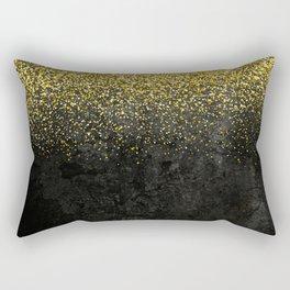 Gold glitter & Black grunge Rectangular Pillow