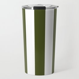 Army green - solid color - white vertical lines pattern Travel Mug