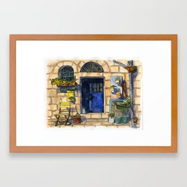Blue Door - Jerusalem Street Framed Art Print