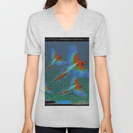 BLACK-TEAL SHABBY CHIC TROPICAL BLUE MACAWS Unisex V-Neck