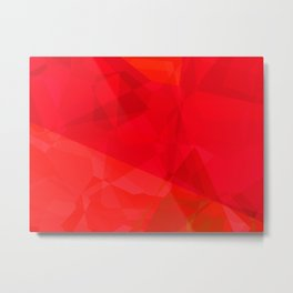 Mottled Red Poinsettia 2 Abstract Polygons 3 Metal Print