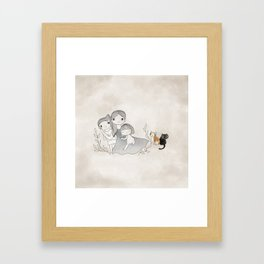 Mummy, son, daughter and cats  Framed Art Print