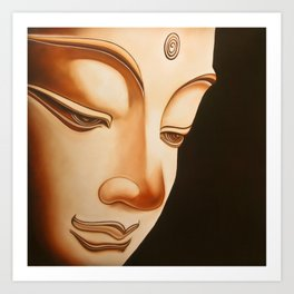 Tranquil oil painting of a peaceful Buddha  Art Print