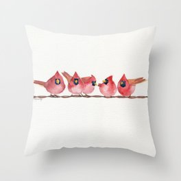 Cardinal on the wire Throw Pillow