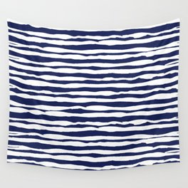 Navy Blue Stripes Wall Tapestry
