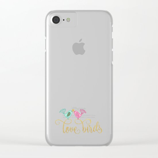 LOVE birds I - Cute watercolor illustration and Typography on aqua Clear iPhone Case
