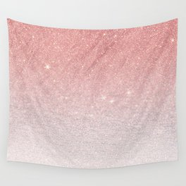 Elegant blush pink faux glitter ombre gradient pattern Wall Tapestry