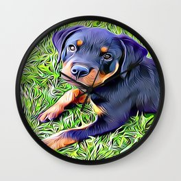 Rottweiler Puppy Wall Clock