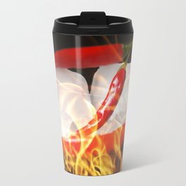Fire and Ice, Sharp chilis in flames Travel Mug