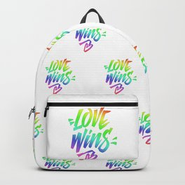 Love Wins Lettering with Rainbow colors Gradient Backpack