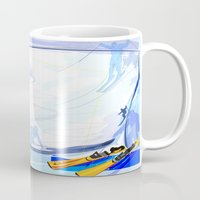 skiing Mugs featuring Downhill Skiing by Robin Curtiss