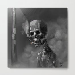 Noir Skeleton Digital Illustration Metal Print