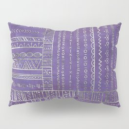 Tribal Ethnic pattern silver on  purple Pillow Sham