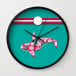 Teal and Pink Orca Stripes Animal Design Floral Pattern Wall Clock