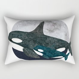 Orca whale - mom and baby Rectangular Pillow