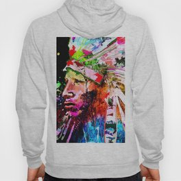 Native American Grunge Portrait Hoody