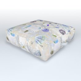 Shells - Yellow Purple Green - Casart Sea Life Treasures Collection Outdoor Floor Cushion