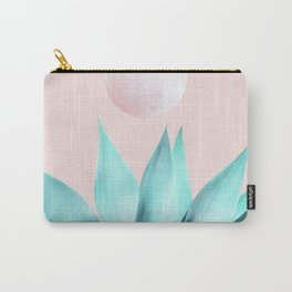 Stellar Agave and Full Moon - pastel aqua and pink Carry-All Pouch