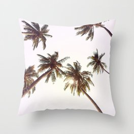 Palm Trees And Pink Sky Throw Pillow