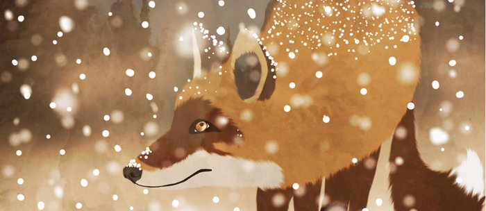 Sneaky smart fox in snowy forest winter snowflakes drawing Coffee Mug