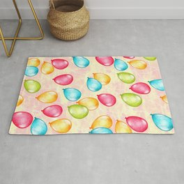 Look Up - a sunset sky full of optimistic balloons in rainbow color Rug