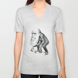 Charles Darwin as an Ape, caricature 1871 Unisex V-Neck