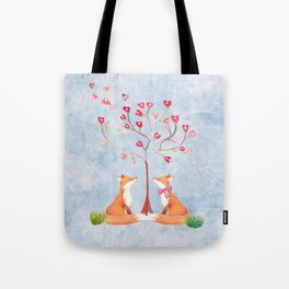 Fox love- foxes animal nature _ Watercolor illustration Tote Bag