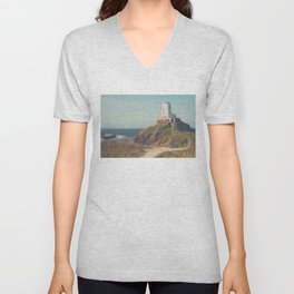 following the cliff path ...  Unisex V-Neck