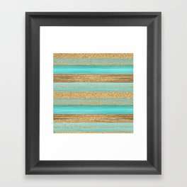 Turquoise Brown Faux Gold Glitter Stripes Pattern Framed Art Print