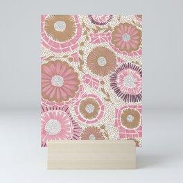 Pink & Gold Flowers Mini Art Print