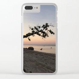 Beach Erosion Sunset Clear iPhone Case