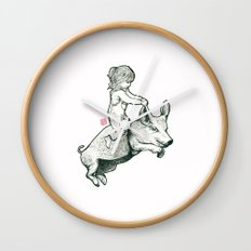 Girl on a flying pig Wall Clock