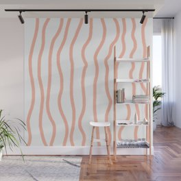 Hand Drawn Lines, Peach/Living Coral Color Wall Mural