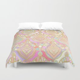 Rosy Opalescent Art Deco Pattern Duvet Cover