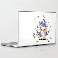 okami Laptop & iPad Skins featuring Little Cerberus in Okami style by Clgtart
