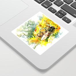 Honey Bee and Flower yellow honey bee design honey making Sticker