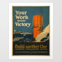 Vintage poster - Your Work Means Victory Art Print