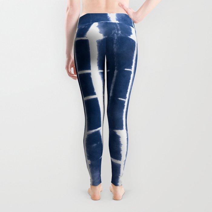 Shibori Stripes 3 Indigo Blue Leggings