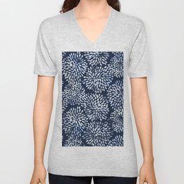 Abstract Navy Watercolor Line Flowers Unisex V-Neck