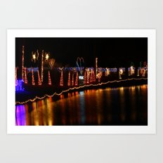 Christmas at the duck pond Art Print